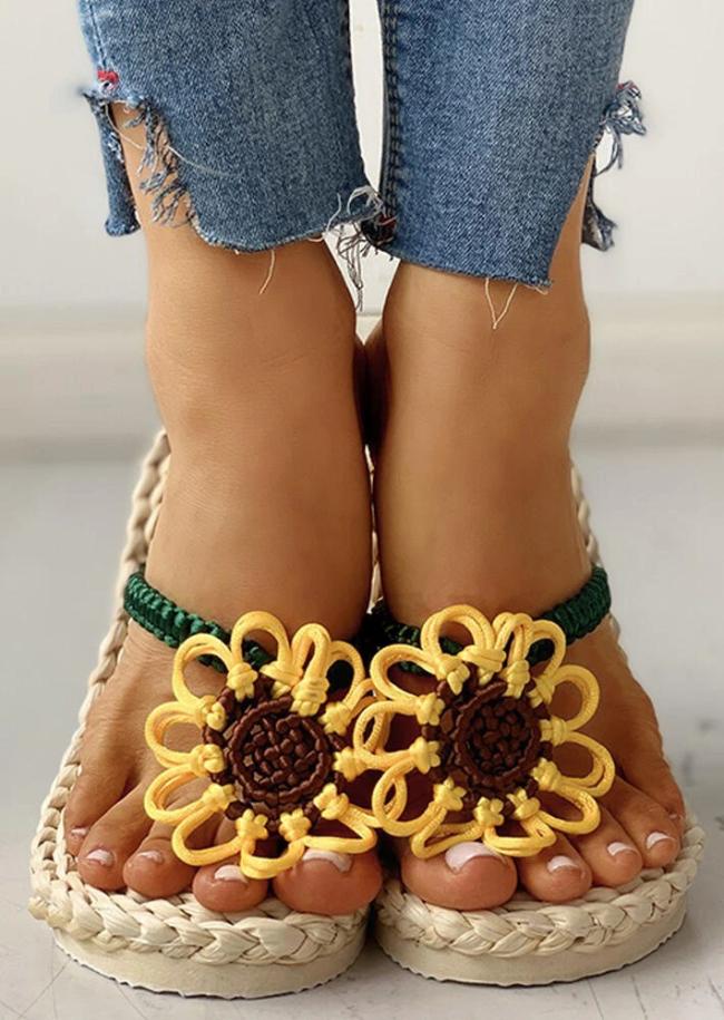 Summer Sunflower Braided Flip Flop Slippers