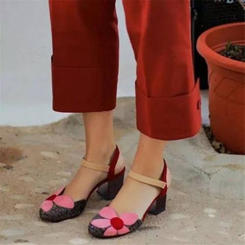 Flower Chunky Heel Sandals
