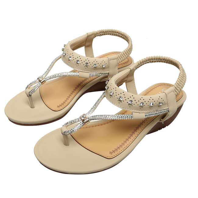 NEW! Women PU Wedge Heel Wedge Sandals Flip Flops with Rhinestone Shoes
