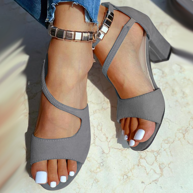 Cut Out Beaded Strap Chunky Heeled Sandals