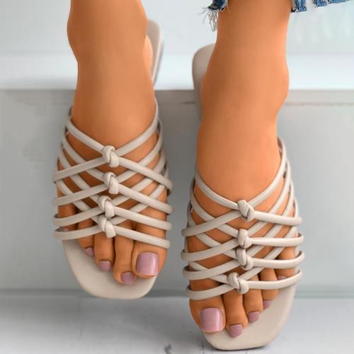 Multi Strap Crisscross Knotted Flat Slider Sandal