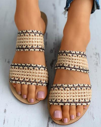 Crochet Detail Double Band Open Toe Slider