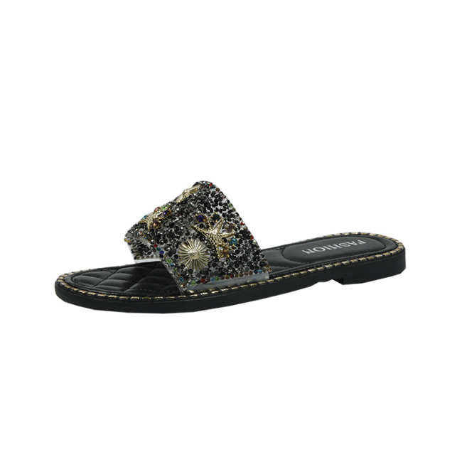 Studded Stars Moon Pattern Open Toe Flat Sandals