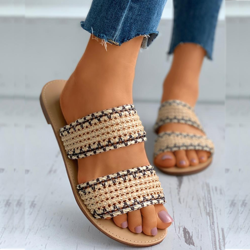 Crochet Detail Double Band Open Toe Slider