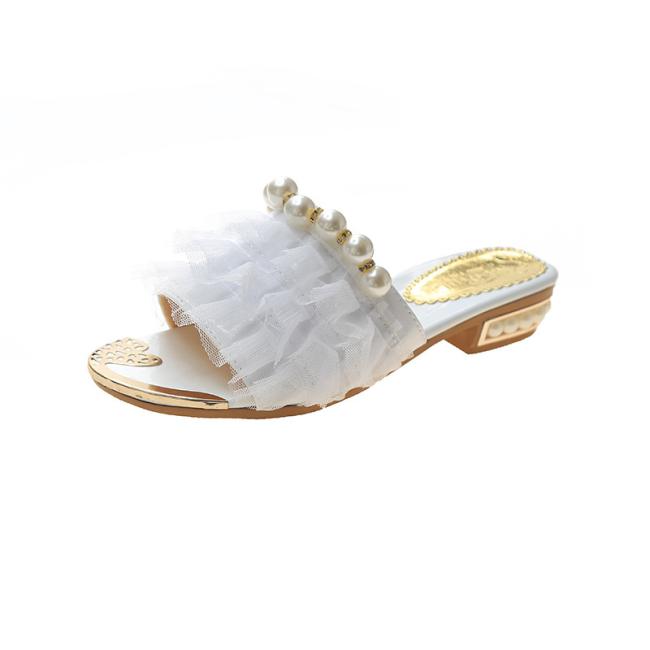 Open Toe Beaded Layered Mesh Insert Flat Sandals