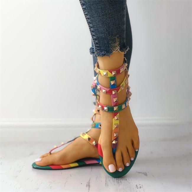 Rivets Multi Strap Toe Post Flat Sandals