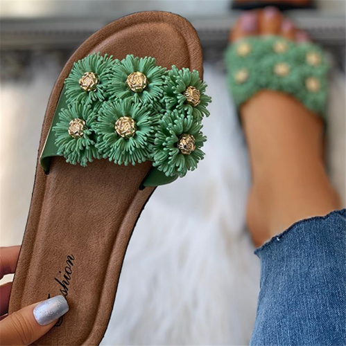 Floral Pattern Detail Open Toe Flat Slider Sandals