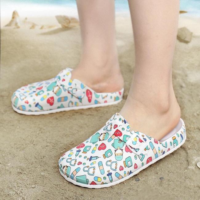 Lightweight Slip-on Buckle Strap Mules Waterproof Non-slip Working Nursing Sandals