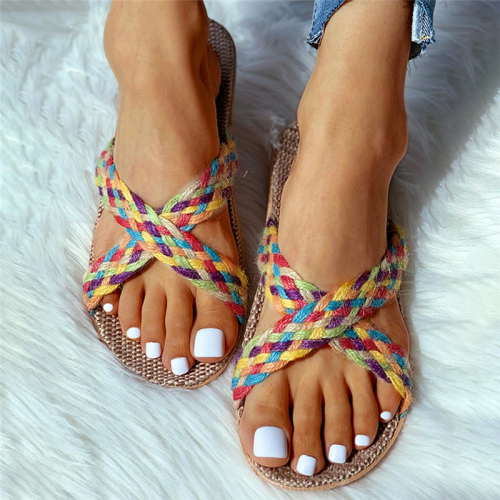 Twisted Woven Flax Cut Out Flat Sandals