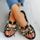 Beaded Bee Pattern Open Toe Flat Sandals