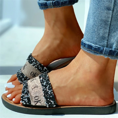 Ok Pattern Sequins Flat Sandals