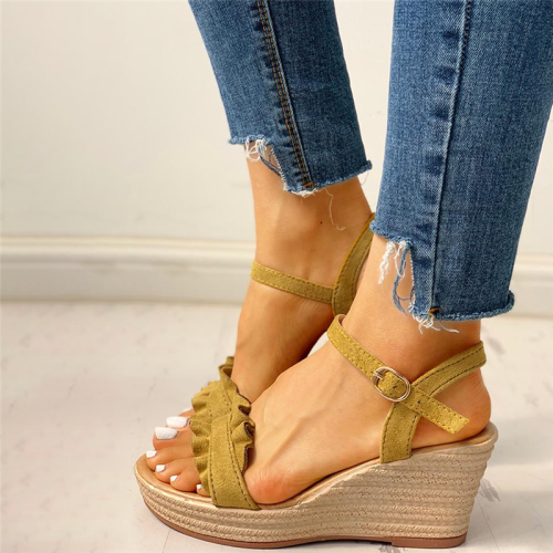Suede Frill Hem Espadrille Wedge Sandals