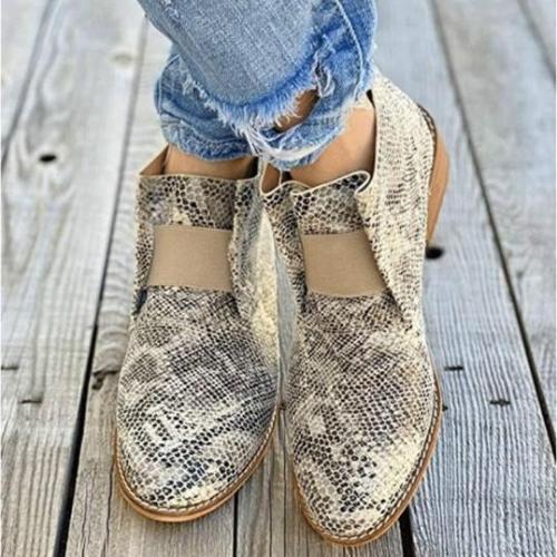 Low-heel chunky heel pointed elastic boots