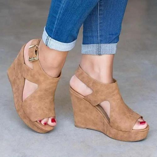 Peep Toe Buckle Strap Wedge Sandals