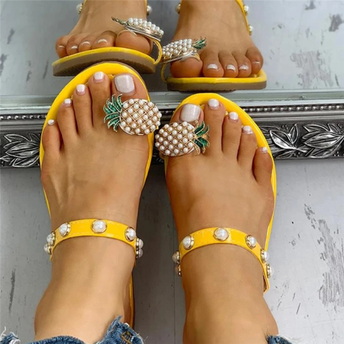 Womens Pineapple Rhinestone Slip-on Slide Sandals
