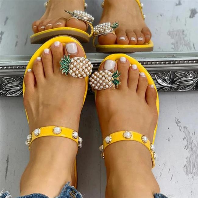 Womens Pineapple Rhinestone Slip-on Slide Sandals