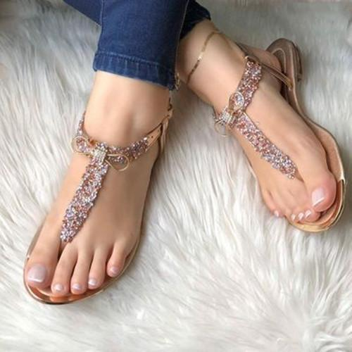 Flat Heel Buckle Pearl Sandals