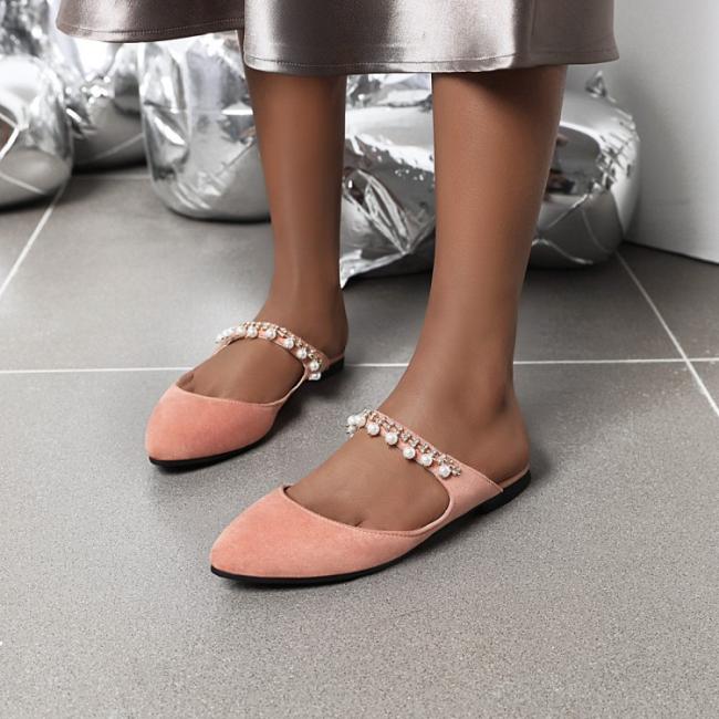 Trendy Rhinestone Beads Slip-On Plain Slippers