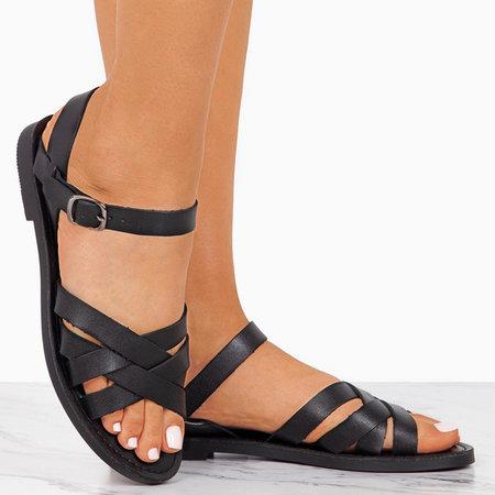 Flat Buckle Peop Toe Sandals
