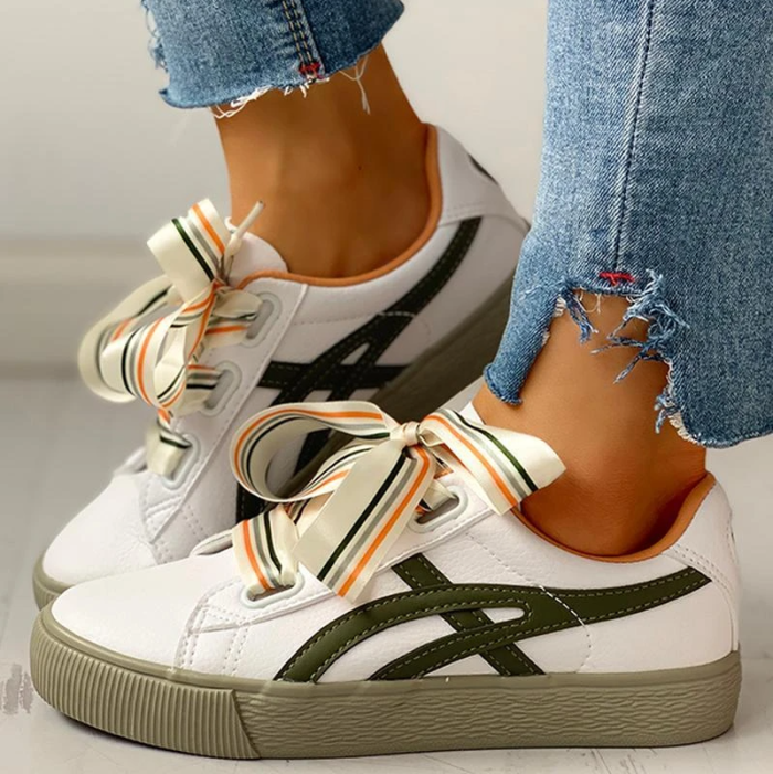 Stripe Ribbon Lace-Up Lines Colorful Sneakers