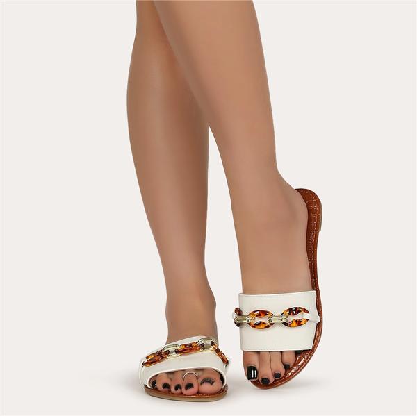 Qupid Tortoise Chain Slip On Slide Sandal
