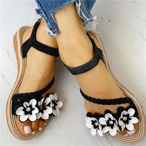 Flower Braided Elastic Strap Sandals