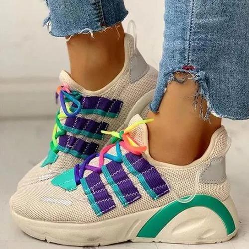 Women's Net Surface Lace-up Flats Fabric Flat Heel Sneakers
