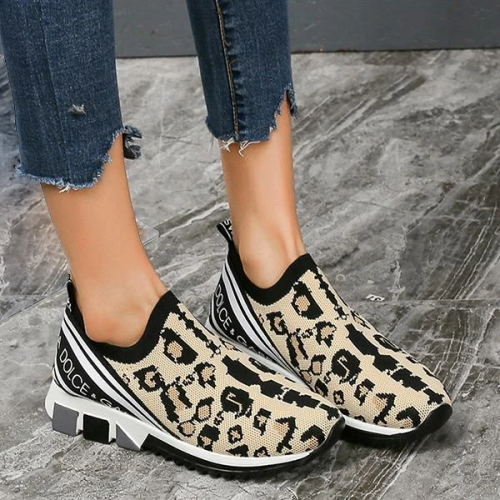 Trendy Casual Wild Leopard Slip On Sneakers