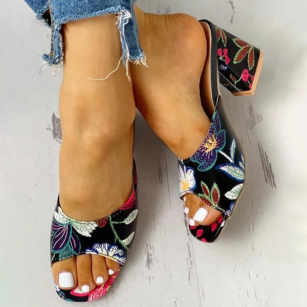 Peep Toe Print Chunky Heeled Sandals