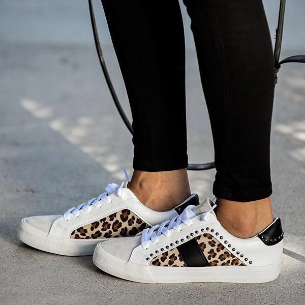Studded Leopard Sneakers