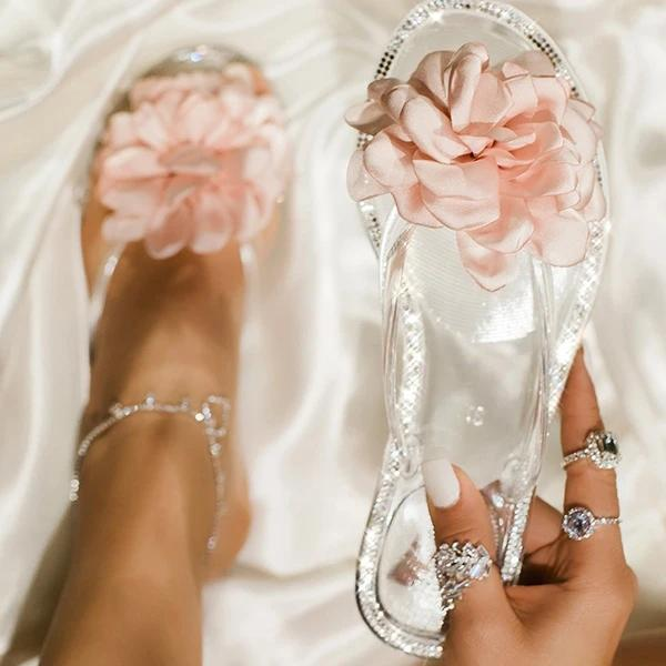 Blossom Clear Thong Strap Embellished Outter Sole Slippers