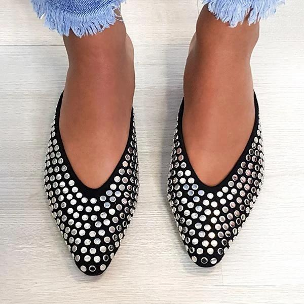 Faux Suede Mule Flats Black Slippers