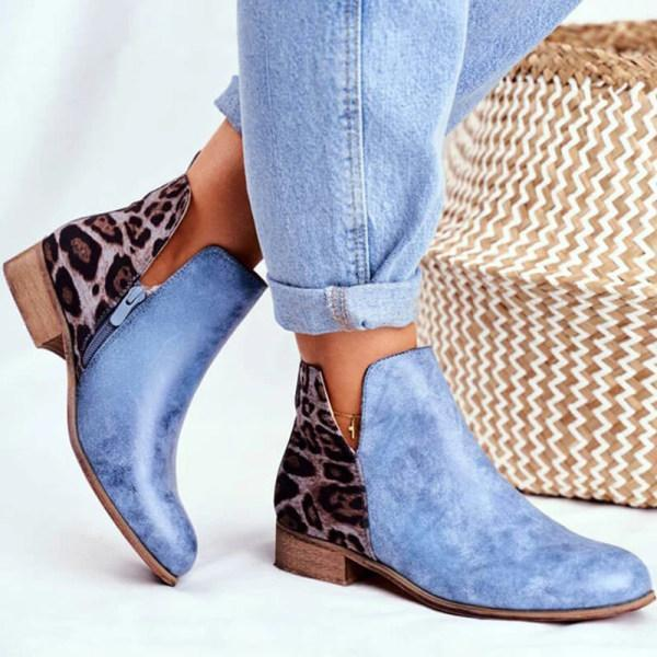 Women's low heel colorblock leopard Martin boots