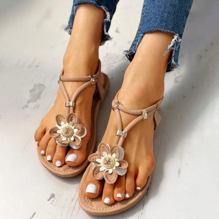 Flower Embellished Toe Post Flat Sandals