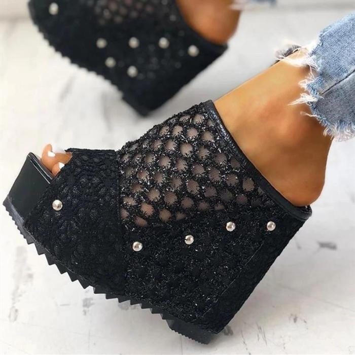 Womens Peep Toe Mesh Lace Wedges Rivet Mule Sandals
