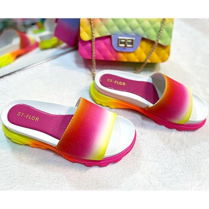 Women Comfy Colorful Open Toe Slip On Platform Slippers
