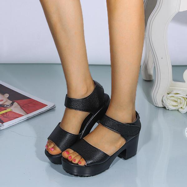 Women's PU Chunky Heel Sandals Peep Toe Sandals