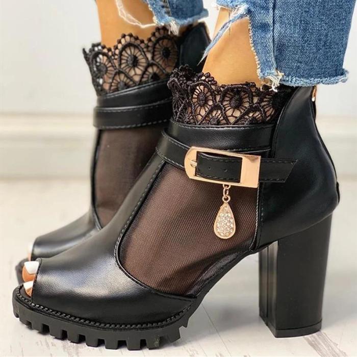 Peep Toe Lace Decoration T-Strap Heeled Sandals
