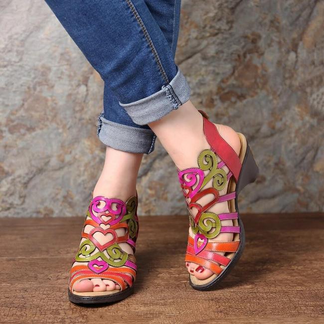 Super Comfy Hollow  Love Shape Soft Hook Loop Low Heel Sandals