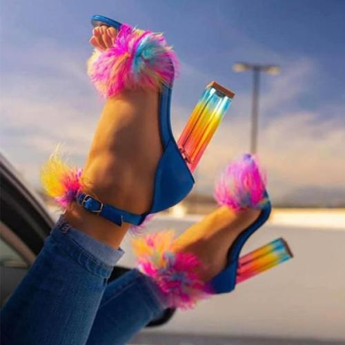 Women's fashion rainbow crystal heel sandals