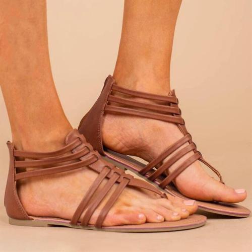 Summer Round Toe Zipper Flat Sandals