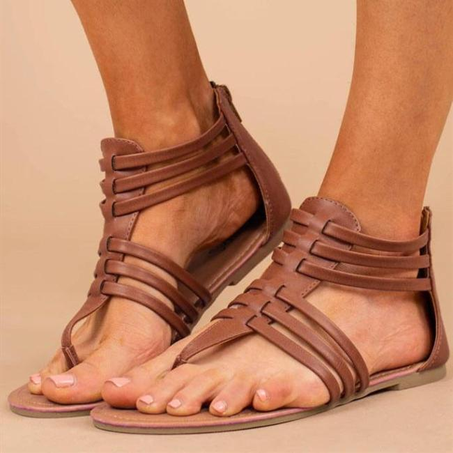 Summer Round Toe Zipper Flat Sandals