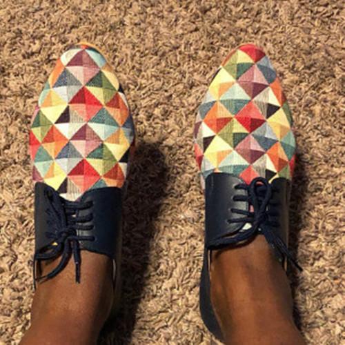 Women Flat Heel Color Block Loafers