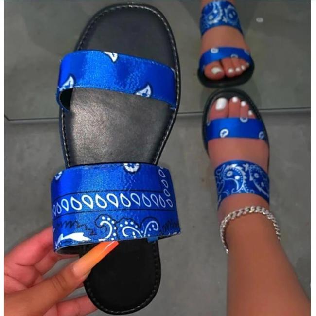 Women Simple Fabric Hit Color Open Heel Slippers