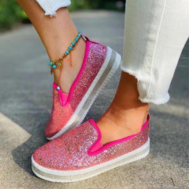 Women Fashion Shining Paillette Rhinestone Slip On Platform Loafers