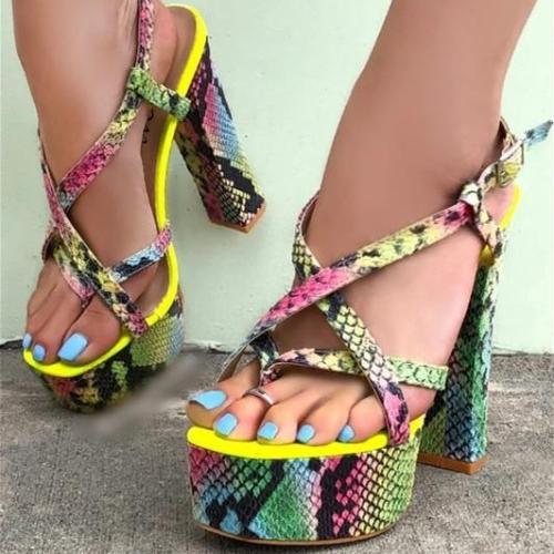 Snakeskin  Printed Heel Sandals