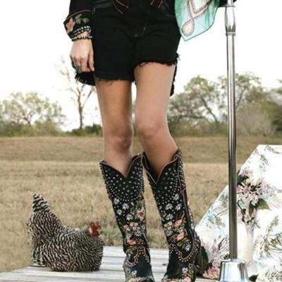 Women Retro Flower Printed High Boots