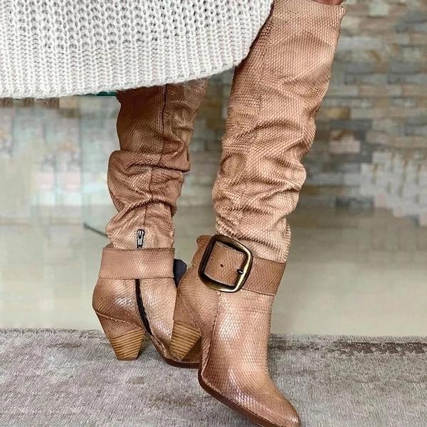 Women Vintage Lace Up Bandage Knee High Boots