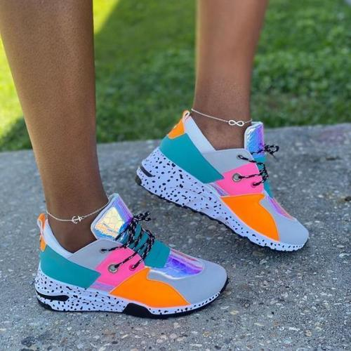 Round Cut Lace Up Sneakers