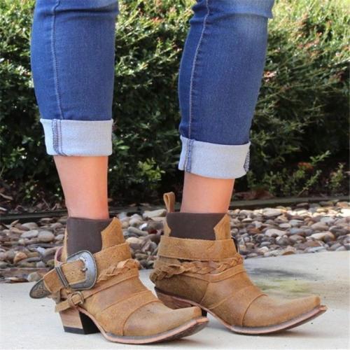 Women Vintage Low Heel Slip-On Comfy Pu Ankle Boots